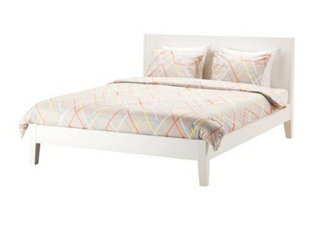 Łóżko białe drewniane 140x200 + stelaż