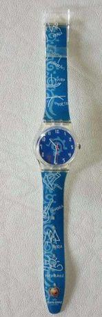 Relógio Euro 2004 Swatch azul Original