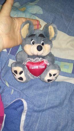 МЯГКАЯ ИГРУШКА мышка серая мышь люблю i love you плюшевая сердце я