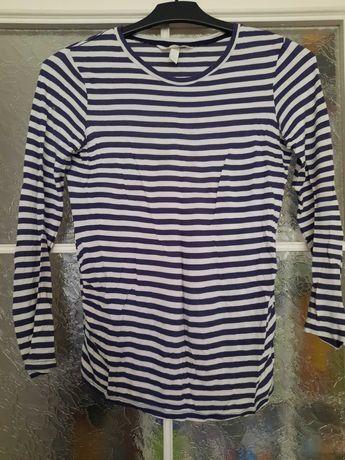 Bluzka ciążowa H&M Mama roz XS biało-granatowa