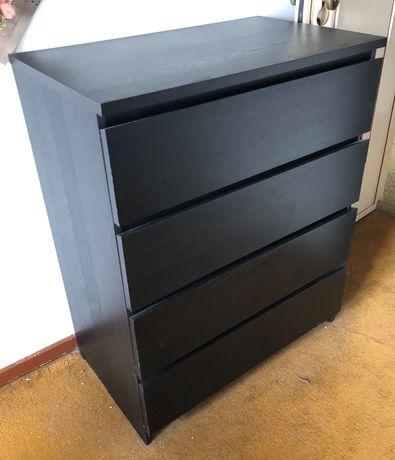 Cómoda MALM 4 gavetas IKEA preta 80x100 cm