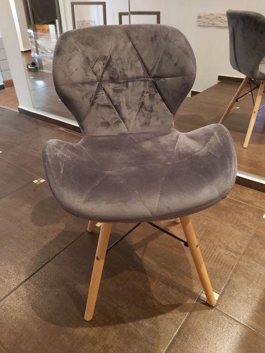 Krzesło szare do biurka drewniane nogi Rybnik - image 1