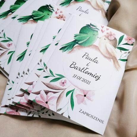 Zaproszenia ślubne z zakochanymi ptaszkami butelkowa zieleń i róż