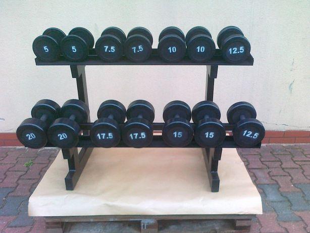 Hantle stałe gumowane stalowe ogumowane zestaw 5-20 175kg stojak