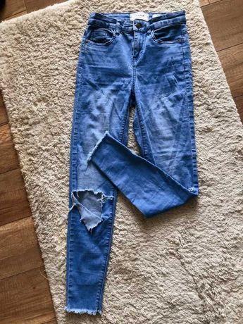 jeansy skinny rurki spodnie dziury na kolanach 36 s new look lato