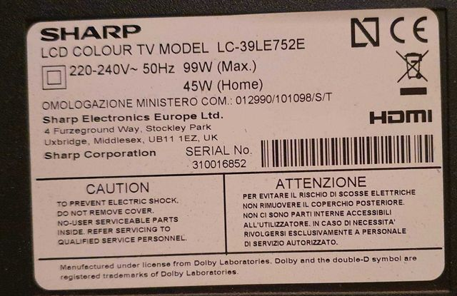 Sprzedam telewizor Sharp