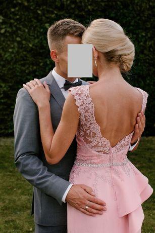 Sukienka wieczorowa koktajlowa ślub wesele pudrowy róż długa 34 36