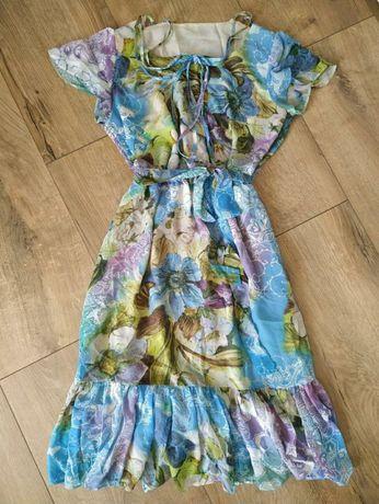 Шикарное шифоновое платье в цветочный принт