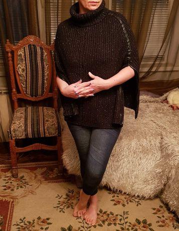 Кофта пончо С-Л с молниями Франция джемпер пуловер толстовка кардиган