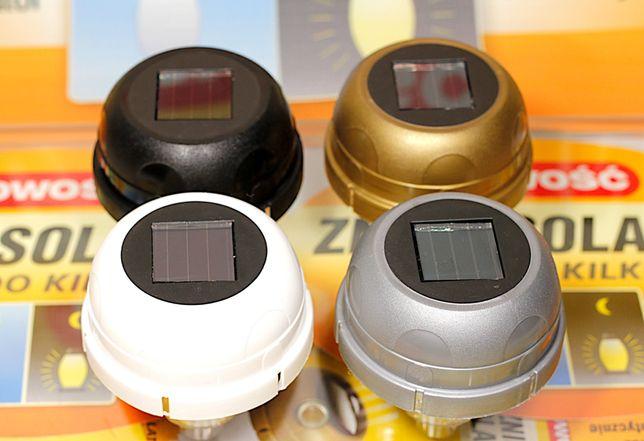 Znicz panel solarny 4 kolory świeci 2 lata dioda LED