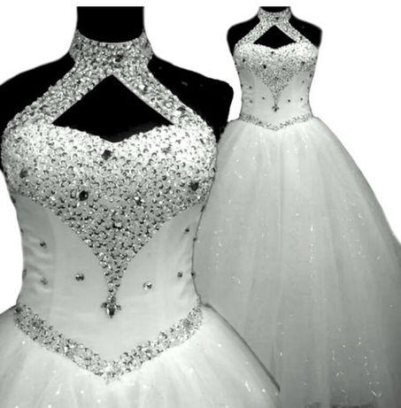 Nowa biała suknia ślubna z cyrkoniami z kryształkami xs/s księżniczka