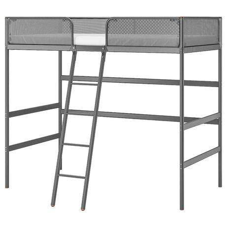 Tuffing Ikea-rama lóżka na antresoli, ciemnoszary
