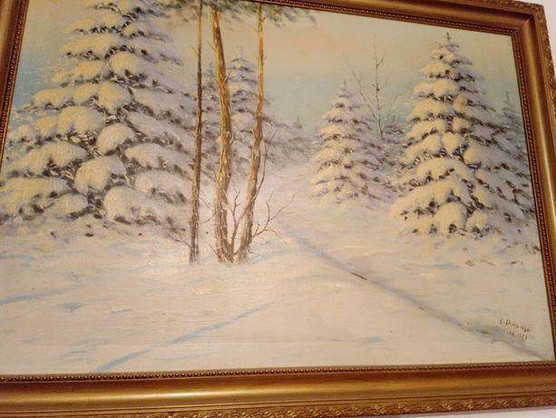 Obraz olejny- płótno 1957 krajobraz zimowy Stefan Sadowski