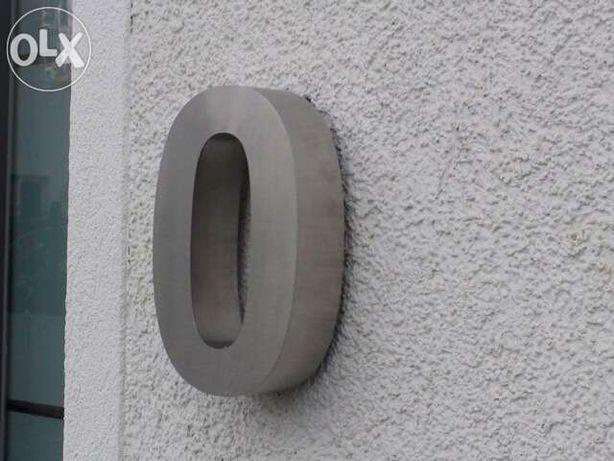 Números residenciais de Inox - Nr. 0 em 3D para Portas ou Entradas