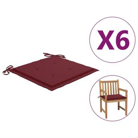 vidaXL Almofadões cadeiras jardim 6pcs 50x50x4cm tecido vermelho tinto 314058