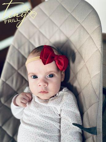 Opaska niemowlęca Kokardka biała KOKARDA chrzest