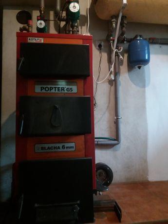 Komplet Kotłownia Piec C.O pompa CWU kocioł drewno węgiel bojler 120