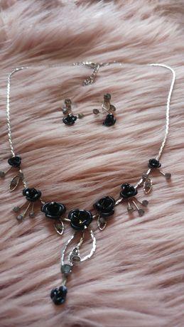 Komplet biżuterii - czarne róże kolczyki łańcuszek naszyjnik biżuteria