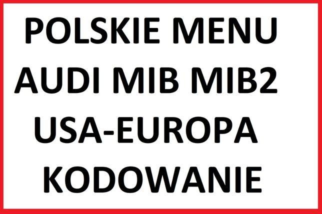 Polskie menu Audi MMI MIB RNSE Nawigacja Mapa Konwersja Kodowanie Doja