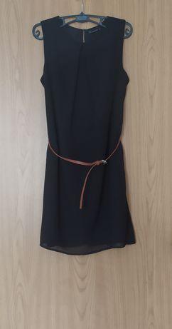 Czarna sukienka Terranova S lato z paskiem