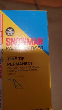 Marker olejowy Snowman niebieski cienki FCP 12 szt