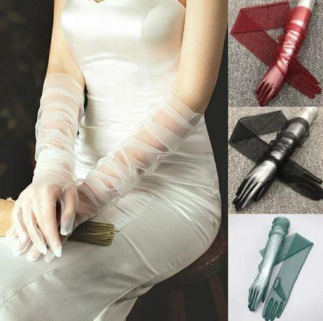 Женские фатиновые праздничные перчатки! Разные цвета!!!