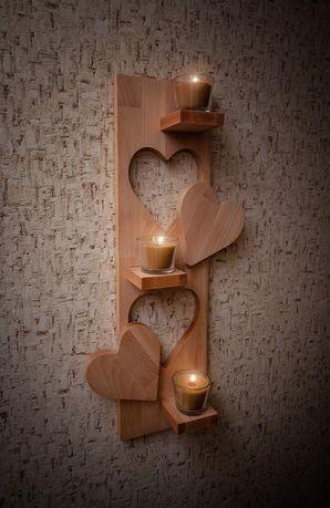 Полочка-подсвечник деревянная настенная
