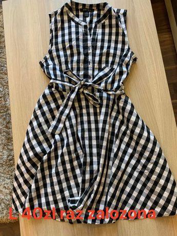 Sukienka wiazana w pasie stan idealny m/l