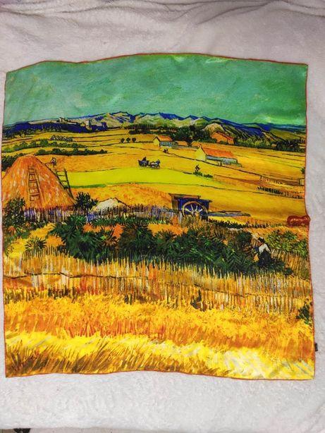 Платок шелк ручная роспись Vincent van Gogh шов роуль hand made