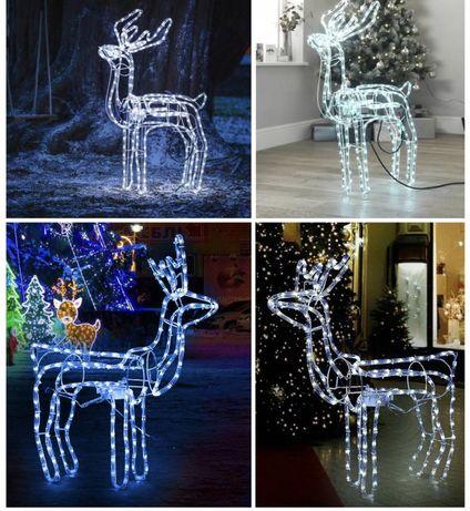 Світлодіодний 3D Білий олень /Светящийся білий олень/Новорічний Олень