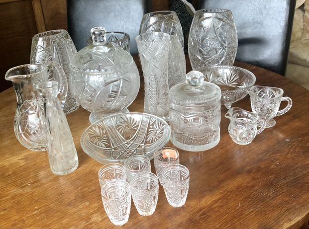 Kryształy wazony,karafki,półmiski,flakony kryształowe unikat PRL antyk