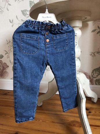 Zara spodnie dżinsy ocieplne 92