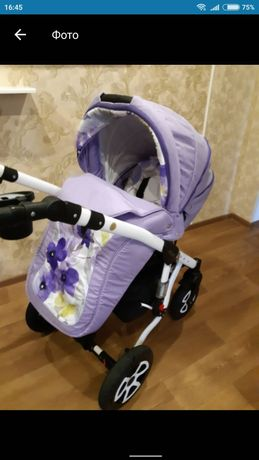Коляска 2 в 1 Adamex Barletta (фиолетовый, акварель цветы 103L)