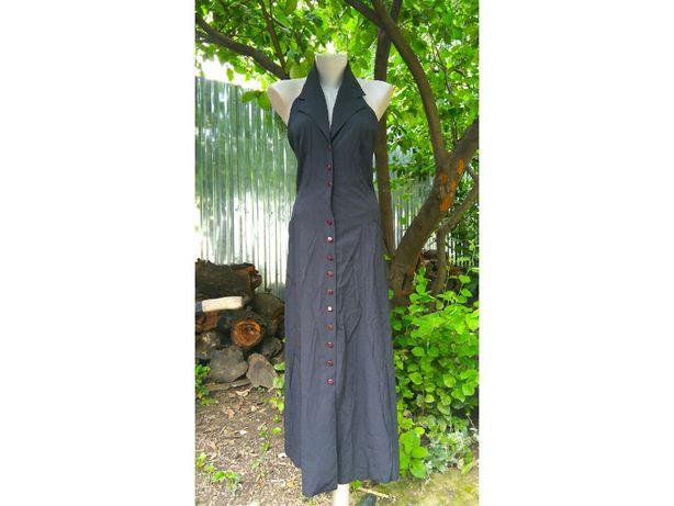 Францыя винтажное платье миди пуговицы цепи ретро открытая спина халат