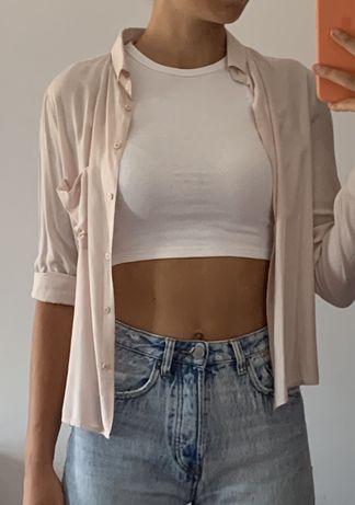 Camisa botões rosa clara bershka