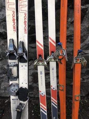 Stare drewniane kolekcjonerskie narty biegówki SKI