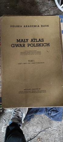 Stary zabytkowy mały atlas gwar polskich prl antyk