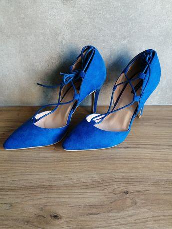 Szpilki buty rozm. 38 chabrowe niebieskie NOWE