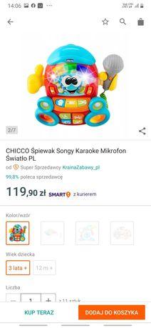 Zabawka , CHICCO Śpiewak Songy Karaoke Mikrofon Światło PL