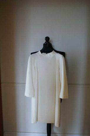 Elegancka sukienka Zara, krótka, ecru, XS-34, jak nowa