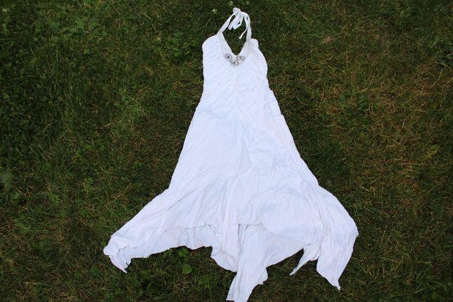 biała sukienka latino wiskoza z elastanem rozmiar 36 do 38