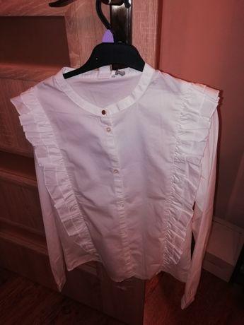 Biała koszulka galowa długi rękaw dla dziewczynki Cool Club