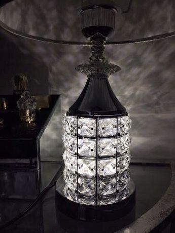 Lampa nocna z kryształkami srebrna glamour śliczna błyszcząca dekor