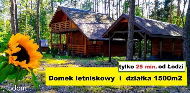 Działka 1500m2 i domek letniskowy - k. Lutomierska