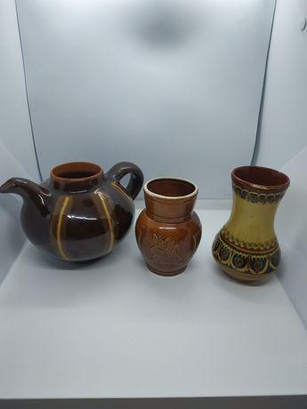 Глиняная посуда времён СССР глечик кувшин чайник ваза вазочка