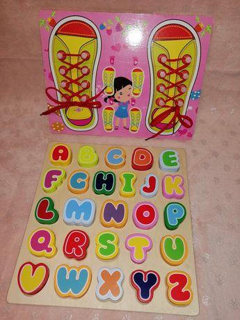 Drewniany alfabet nawlekanka z butami nauka sznurowania