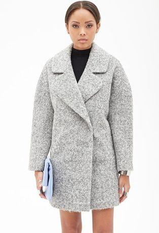 Тёплое серое бойфренд пальто размер S