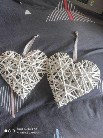 2 x białe serca ratanowe ślub, wesele 30 cm
