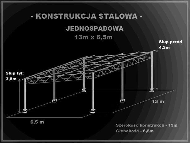 Konstrukcja skręcana wiata rolna garaż 13 x 6,5m Hala Magazyn Blaszak