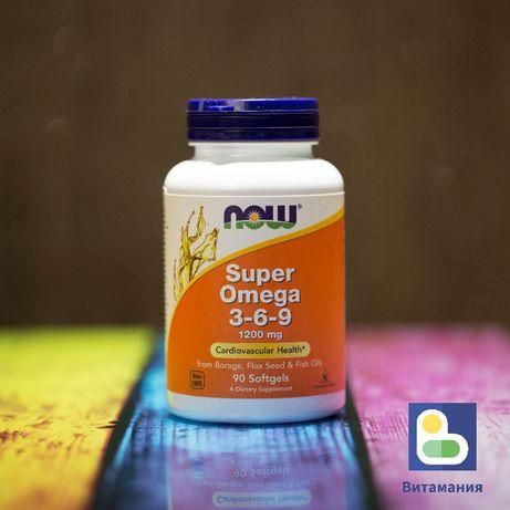 Супер омега 3 6 9, Super Omega 3-6-9, Now Foods, 1200 мг, 90 капсул